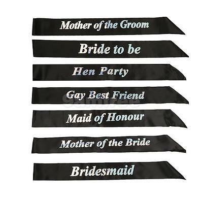 Black Glitter Hen Party Sashes Night Party Do Accessories Bride To Be Bridesmaid