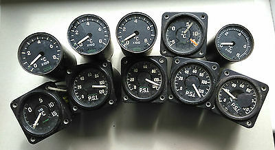 10 military aircraft dial gauges, black, all for repair or parts.