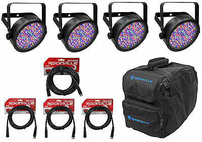 4) Chauvet SLIMPAR56 Slim Par Can 56 LED Lights w/ DMX Controls+Gear Bag+Cables