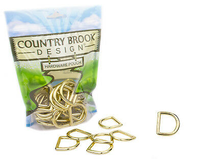 10-Country Brook Design® 1 Inch Solid Brass Die Cast Square Bottom D-Rings