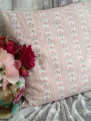 """Sweet Feather Filled Vintage Pink Ticking Fabric Pillow 14"""" x 14"""""""