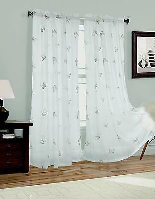 New 2 Panel Feathers Embroider Sheer Voile Window Curtain Drapes ...