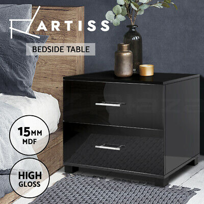 Bedside Table Cabinet High Gloss Chest 2 Drawers Lamp Side Nightstand BK