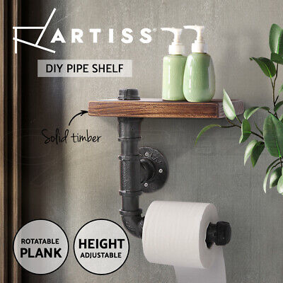 Artiss Rustic Industrial DIY Bathroom Paper Holder Pipe Vintage Wall Shelf Towel