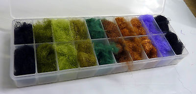 Fly Tying Materials 10 Mixed 'Natural Colours' Antron Dubbing Box (ASBOX)
