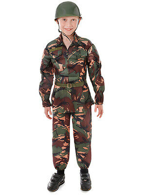 Boys Army Camouflage Soldier Book Day Week New Fancy Dress Costume 5-10yr Outfit