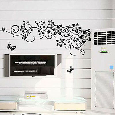 Butterfly Flower DIY Removable Vinyl Decal Art Mural Home Decor Wall Sticker New