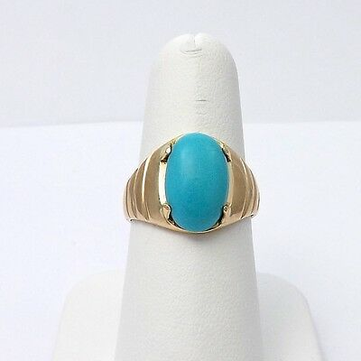 14K Yellow Gold Persian Chinese Turquoise 2.5ct Keep Away Evil Ring Sz 7.75