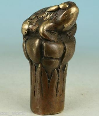 Chinese Old Bronze Collection Handmade Carved Frog Statue Walking Stick Head