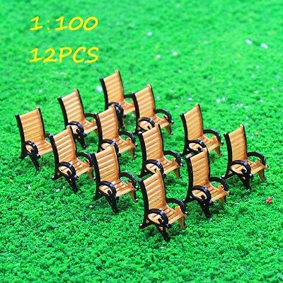 TYS18100O 12pcs Model Train Railway Platform Leisure Chair Bench Settee 1:100 TT