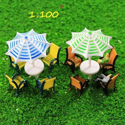 TYS37100 2 Sets Model Train Sun Umbrella Parasols Leisure Chairs Bench Settee TT