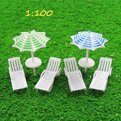 TYS39100 2Sets Parasols Sun Loungers Deck Chair Bench Settee 1:100 Model Train