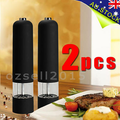 2X Black Electric Salt And Pepper Mills Grinders Kitchen Tool