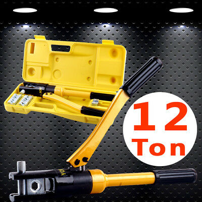 12 Ton Hydraulic Crimper Plier Cable Crimping Tool Kit 8 Die 10mm-120mm Industry