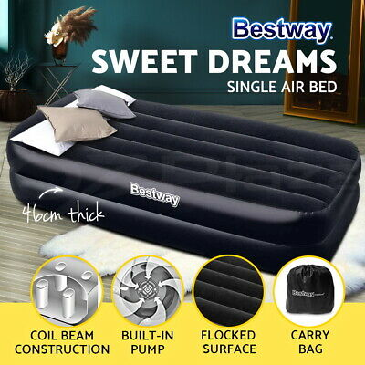 Bestway Single Inflatable Air Mattress Bed Built-in Pump Flocked Camping