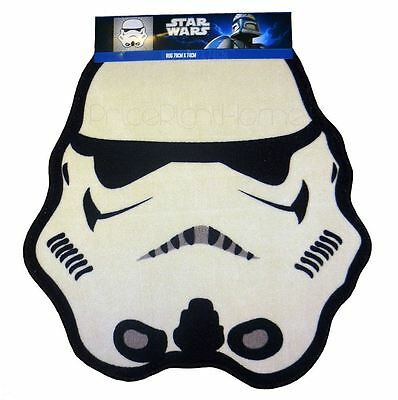 Star Wars Trooper Shaped Floor Rug Kids White Black Free P+P