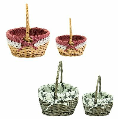 Mini Wicker Shopping Basket Shopper Storage Display with Cotton Lining