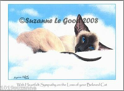 Original Design Large Siamese Cat Painting Sympathy Card By Suzanne Le Good