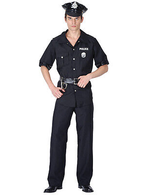 Men's Usa Policeman Costume Mens Us American Police Man Officer Fancy Dress New