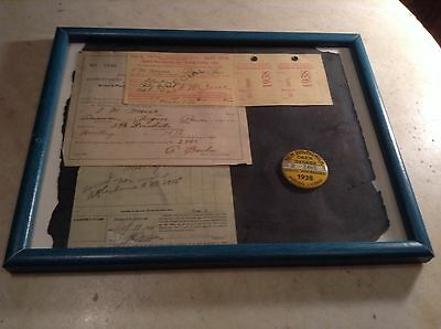 1938 New Brunswick Deer Hunting License Pin Canada Special Non-Resident Framed