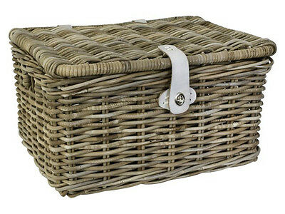 Fastrider Bike Basket Rattan With Lid Wicker Luggage Carrier Picnic