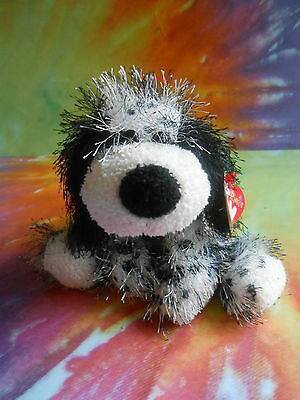 TY Punkies  Black & White Unique DALMATIAN Shaggy Bean Bag Plush with Tags