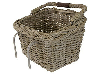 Fastrider Rattan Basket Rectangular With Handle Wicker Bicycle Shopping