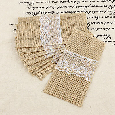 8x HESSIAN LACE CUTLERY HOLDERS WEDDING TABLE DECORATION BURLAP PARTY