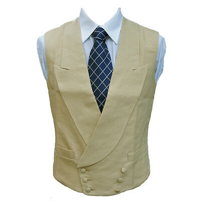 "Double Breasted Irish Linen Waistcoat in Sand 42"" Regular"