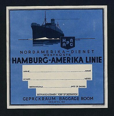 Shipping Company HAMBURG-AMERIKA LINIE * Old Luggage Label Kofferaufkleber #2