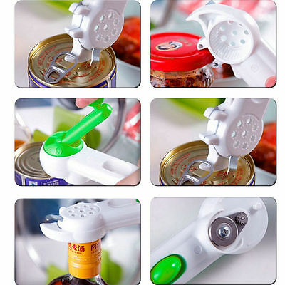 White + Green Multi-function 7 in 1 Kitchen Tool Bottle Can Jar Easy Opener WD