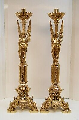 "Traditional Pair of Ornate Brass Church Angel Altar Candlesticks 32"" tall (#166)"