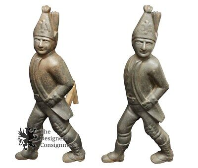 Antique Cast Iron Figural Colonial Style Minute Men Fireplace Andirons Pair 19""