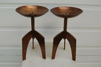 "+ Nice Pair of Solid Bronze Altar Candlesticks + 11"" ht. + Chalice Co. +"