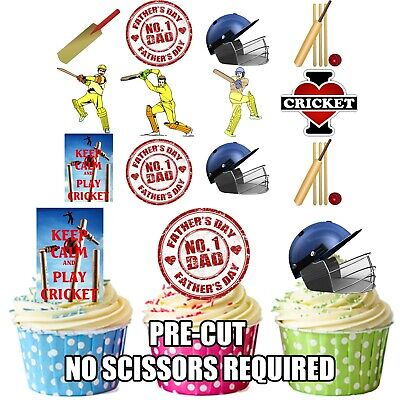 Fathers Day Cricket Themed - Precut Edible Cup Cake Toppers Decorations For Dad