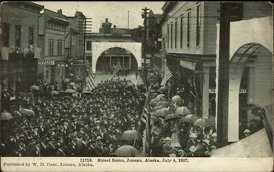 Busy Street Scene Juneau AK 1907 4th of July Postcard
