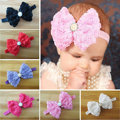 Baby Girls Kids Rose Flower Bow Hairband Soft Elastic Headband Hair Accessories