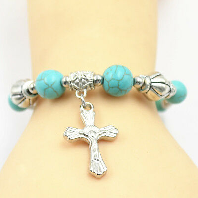Retro Jewelry Tibetan Silver Pld Bracelet Turquoise Bead Adjust Cross Bangle