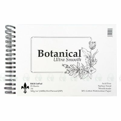 Botanical Ultra Smooth Hot Pressed Fat Pads.Artists Watercolour 300gsm Paper Pad