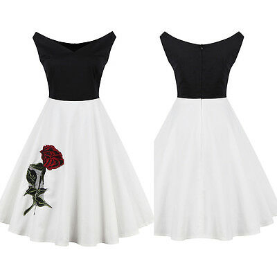 Women Vintage Style Embroidery Rose 50s 60s Party Swing Rockabilly Dress Skater
