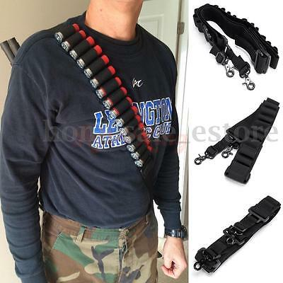 Tactical 2 Point Rifle Shotgun Sling 14 Shell Ammo Holder Bandolier 12Ga 20Ga