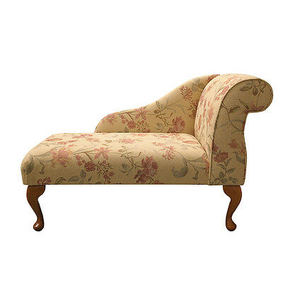 Small Chaise Longue Chair in a Gold Fabric with Floral Pattern