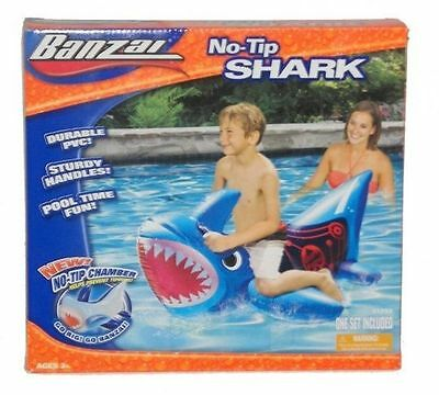 Banzai No Tip Shark Rider Inflatable Pool Toy Kids Swim [FT/1]