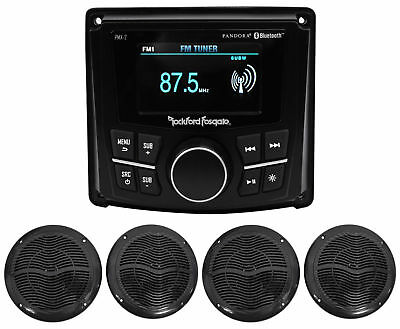 "Rockford Fosgate PMX-2 2.7"" Marine Digital Media Receiver w/Bluetooth+4 Speakers"