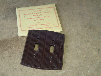 Vintage NOS Roger Deluxe Brown Bakelite Double Gang Light Switch Plate Cover