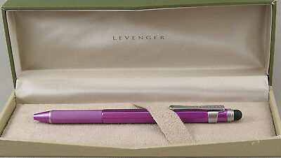 Levenger L-Tech Fuscia & Silver Ballpoint Pen w/Stylus - New In Box