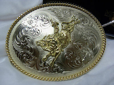 Montana Silversmiths Bull Rider Riding Gold German Silver Engraved Belt Buckle