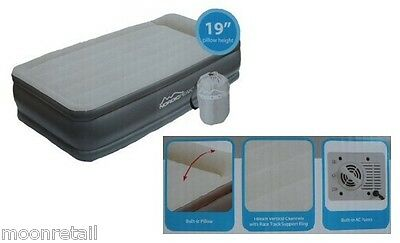 SELF INFLATING AIRBED Guest Single Bed Camping Mattress Electric Pump Twin Air