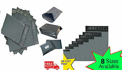UK Self Seal Grey Strong Plastic Packaging Post Polythene Mailing Bags All Sizes
