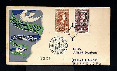 9999-SPAIN-ESPAÑA-FIRST DAY COVER MADRID to BARCELONA.1950.Centenario del sello.